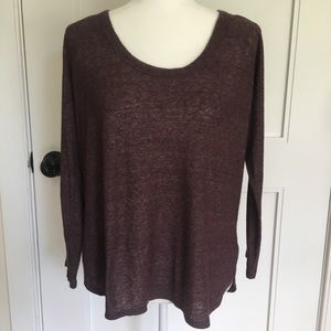 James Perse Curved Hem Baseball Pullover Top